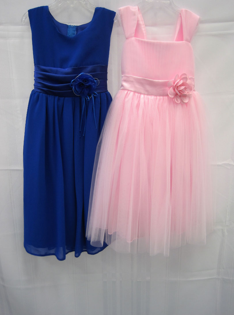 blue and pink dress