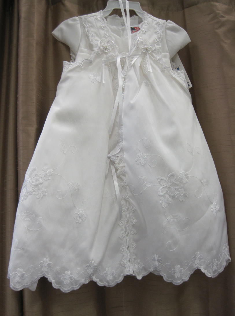 white baby christening gown